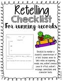 Retelling Checklist for Running Records