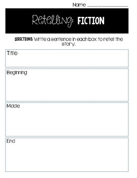Retelling: Fiction (beginning, middle, end)