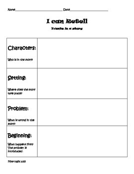 Retelling Graphic Organizer