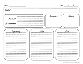 Retelling Graphic Organizer - Beginning, Middle & End - Di