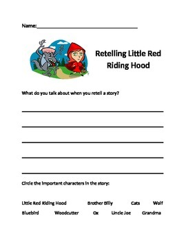 Retelling Little Red Riding Hood Assessment - Setting, characters, plot. CCSS