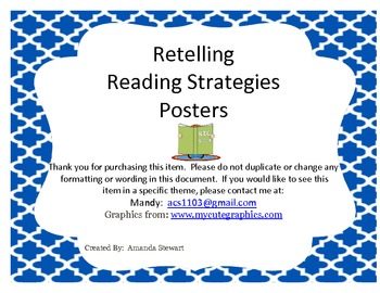 Retelling Reading Strategies Posters