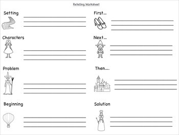 Retelling Rope/cards and Worksheet - Wizard of Oz Theme