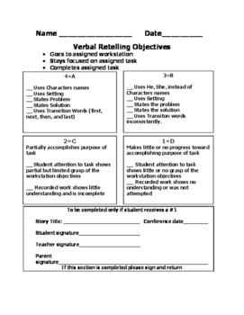 Retelling Rubric Oral/Written