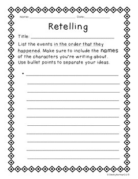 Retelling Stories Graphic Organizer (with example!)