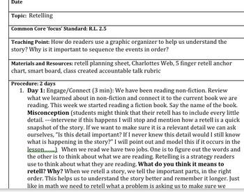 Retelling Written Lesson Plan