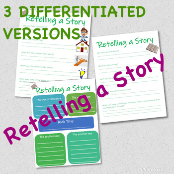 Retelling a Story (3 differentiated graphic organizers)