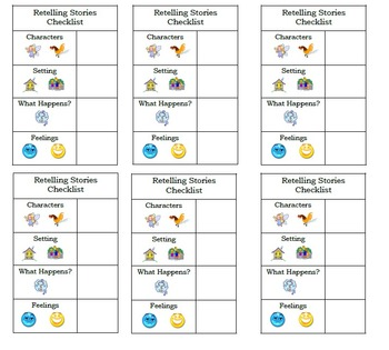 Retelling a Story Checklist Bookmarks