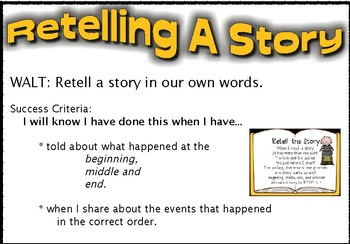 Retelling a story - WALT and SC