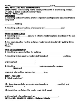 Retelling and Summarizing Guided Notes
