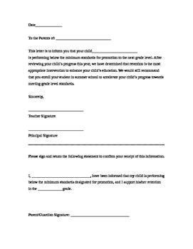 Retention Letter to Parent