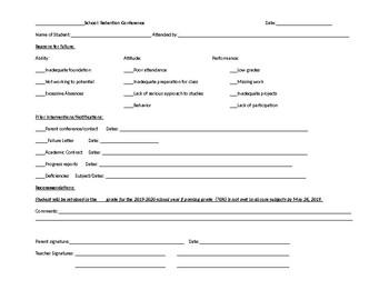 Retention: parent-teacher conference form