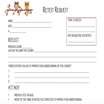 Retest Request Form By Tori Gorosave  A Middle School TeacherS Journey