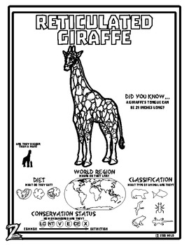 Reticulated Giraffe -- 10 Resources -- Coloring Pages, Reading & Activities