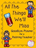 Retirement Gift All the Things We'll Miss Poem