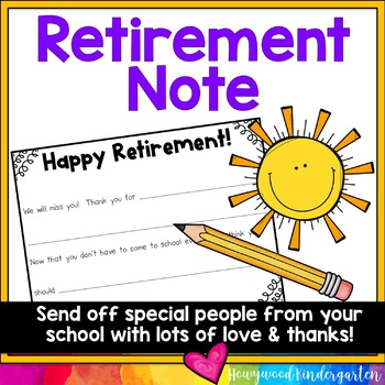 Retirement Letter ... a sweet, simple way to send kindness, love & appreciation