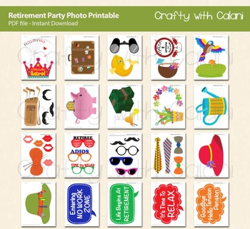 Retirement Party Photo Booth Prop - DIY Party & Classroom Games Printable