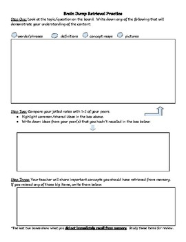 "Retrieval Practice ""Brain Dump"" Template"