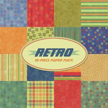 Retro 16-Piece Printable Digital Paper Pack