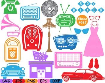Retro 50s school cars clip art svg radio music note rock dress Silhouette -116s