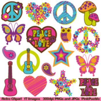 Retro 60s and 70s Clipart Clip Art