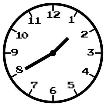 Retro 8-bit Style Analog Clock Clipart Bundle - Every 5 Minutes
