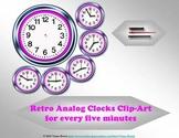 Retro Analog Clocks Clip-art: for every five minutes
