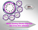 Retro Analog Clocks Clip-art: for every five minutes