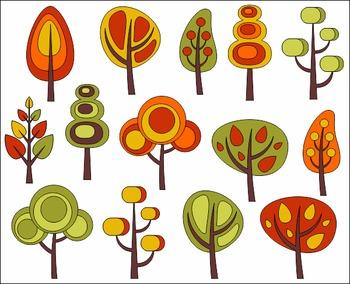 Retro Autumn Trees Clip Art Set