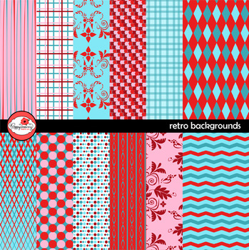 Retro Backgrounds Digital Paper by Poppydreamz