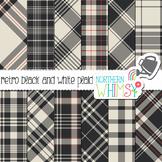 Retro Black and White Plaid Digital Paper