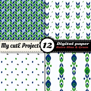 """Retro Blue and Green - DIGITAL PAPER - Scrapbooking- A4 & 12x12"""" - Vintage"""