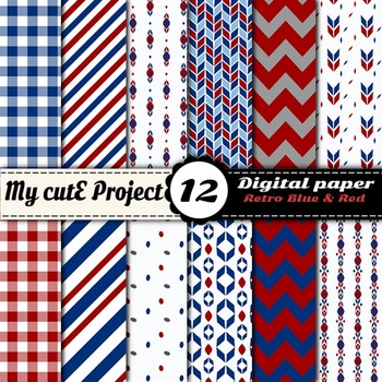 "Retro Blue and red - DIGITAL PAPER - Scrapbooking- A4 & 12x12"" - Vintage"