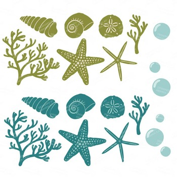 Retro Bold Coral & Seashells Clipart