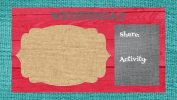 Retro Brights Burlap & Wood Morning Meeting Slides