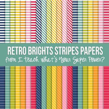 Retro Brights Stripes Paper Pack