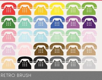 Retro Brush Digital Clipart, Retro Brush Graphics, Retro B