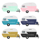 Retro Camper Clip Art, Commercial Use Digital Graphics
