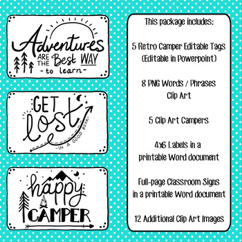 Retro Campers, Vintage Camping - Editable Name Tags, Clip Art, Doodle  Phrases