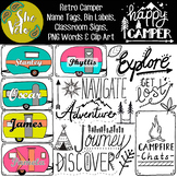 Retro Campers, Vintage Camping - Editable Name Tags, Clip