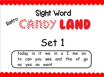 Retro Candy Land Sight Word Cards
