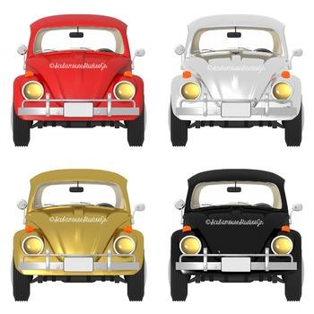 Retro Car Clipart, Gold, Silver, Red, Black Realistic Cars