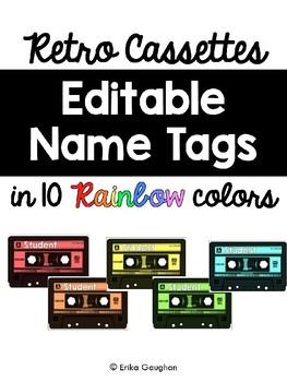 Retro Cassette Editable Name Tags | Music Theme | Decor | FREEBIE