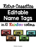 Retro Cassette Editable Name Tags | Music Theme | Decor | FREEBIE