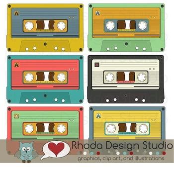 Retro Cassette Tapes Clip Art (RDS Clipart)