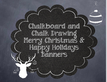 Retro Chalkboard and Chalk Drawing Merry Christmas and Happy Holidays Banner