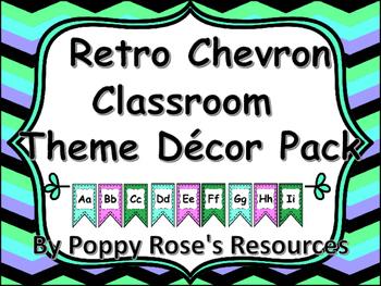 Retro Chevron Themed Classroom Decor Pack