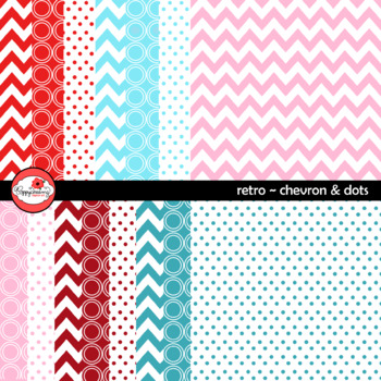 Retro Chevron and Dots Digital Paper by Poppydreamz