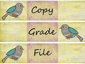 Retro Chic Grade, Copy, File & More Labels