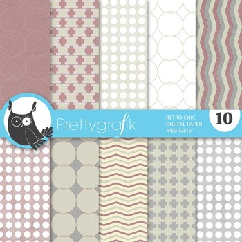 Retro Chic digital paper, commercial use, scrapbook papers